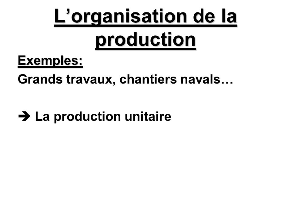 L'organisation de la production