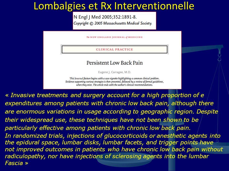 Lombalgies et Rx Interventionnelle