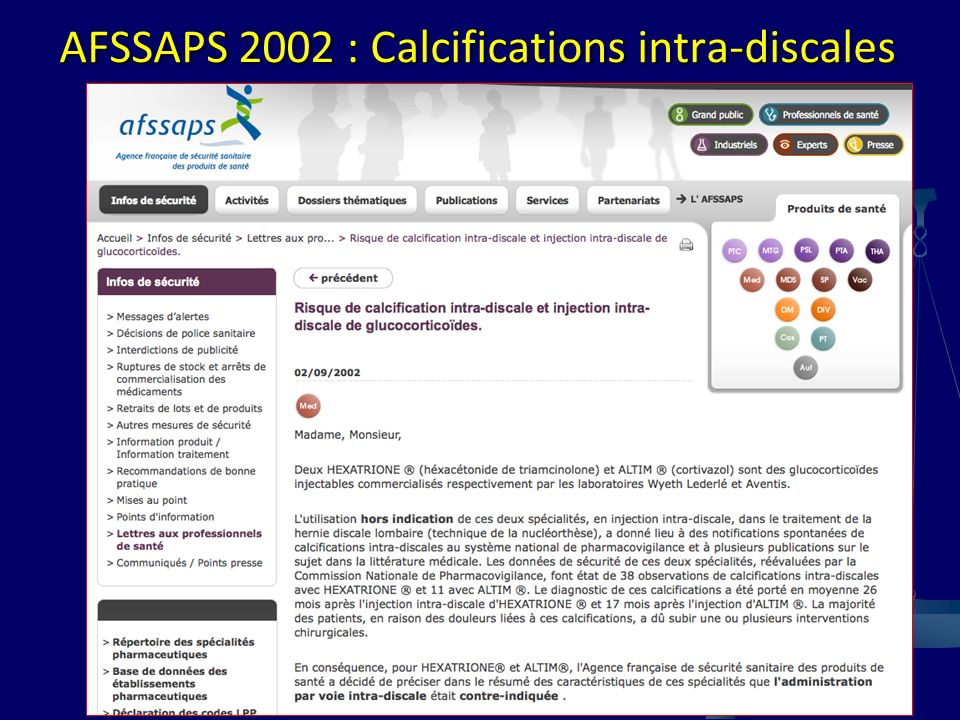 AFSSAPS 2002 : Calcifications intra-discales