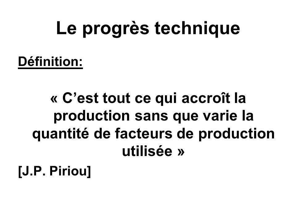 Le progrès technique Définition: « C'est tout ce qui accroît la production sans que varie la quantité de facteurs de production utilisée »