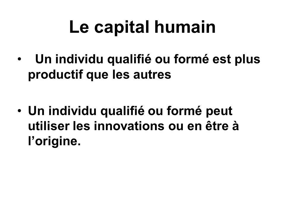 Le capital humain Un individu qualifié ou formé est plus productif que les autres.