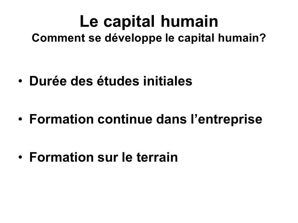 Le capital humain Comment se développe le capital humain