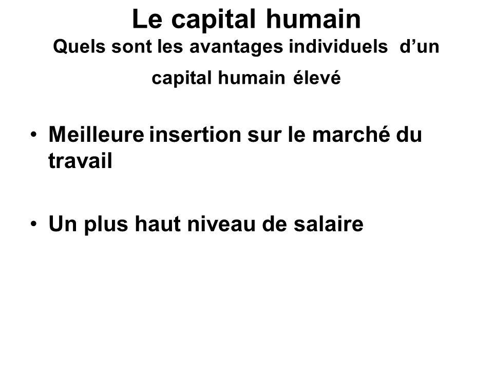 Le capital humain Quels sont les avantages individuels d'un capital humain élevé