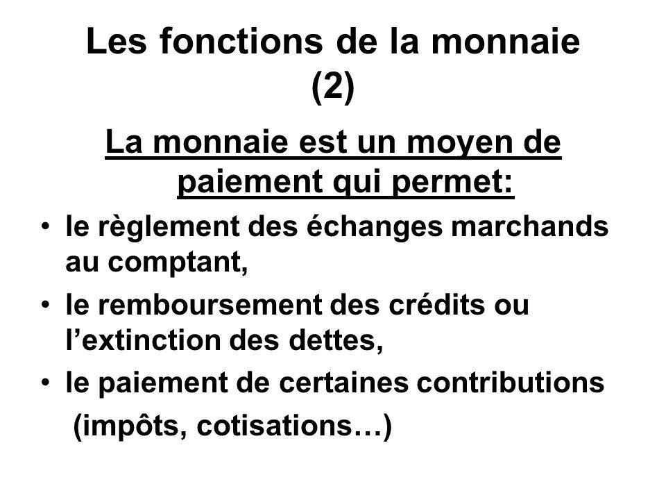 Les fonctions de la monnaie (2)