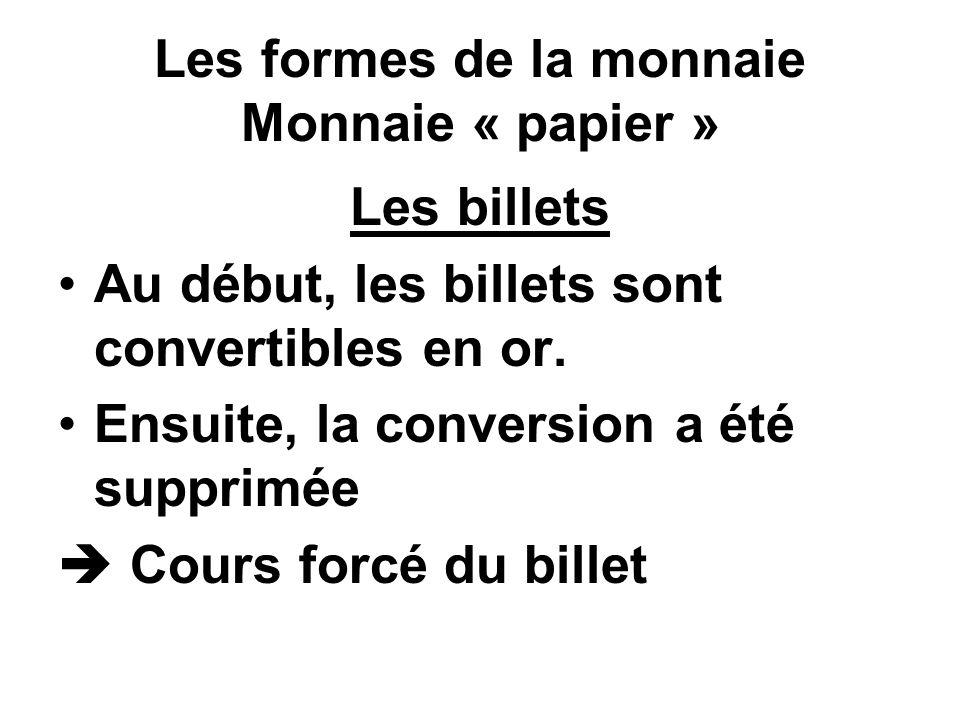Les formes de la monnaie Monnaie « papier »