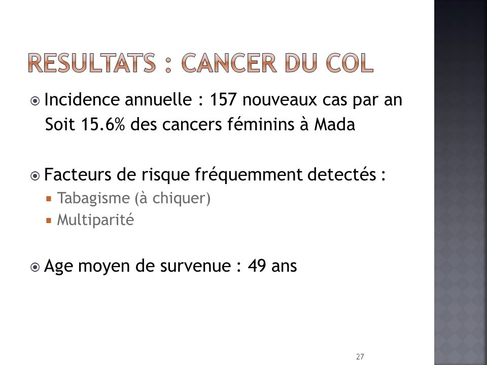 RESULTATS : Cancer du COL