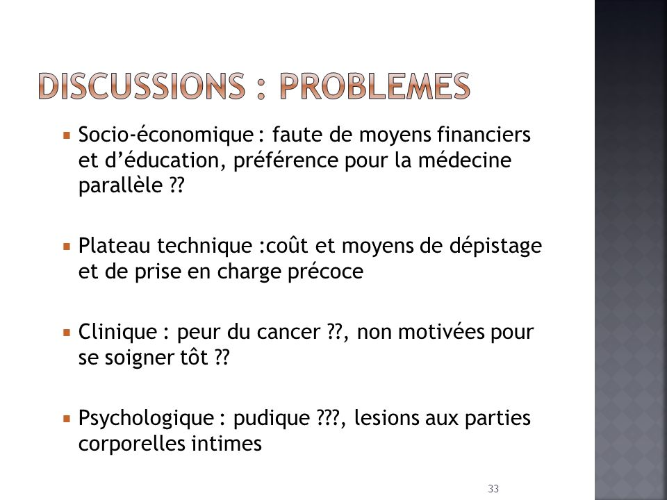 DISCUSSIONS : PROBLEMES
