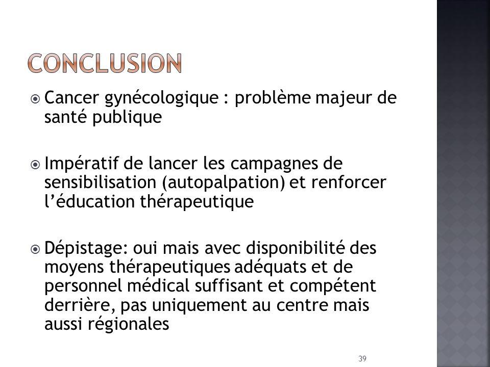 CONCLUSION Cancer gynécologique : problème majeur de santé publique