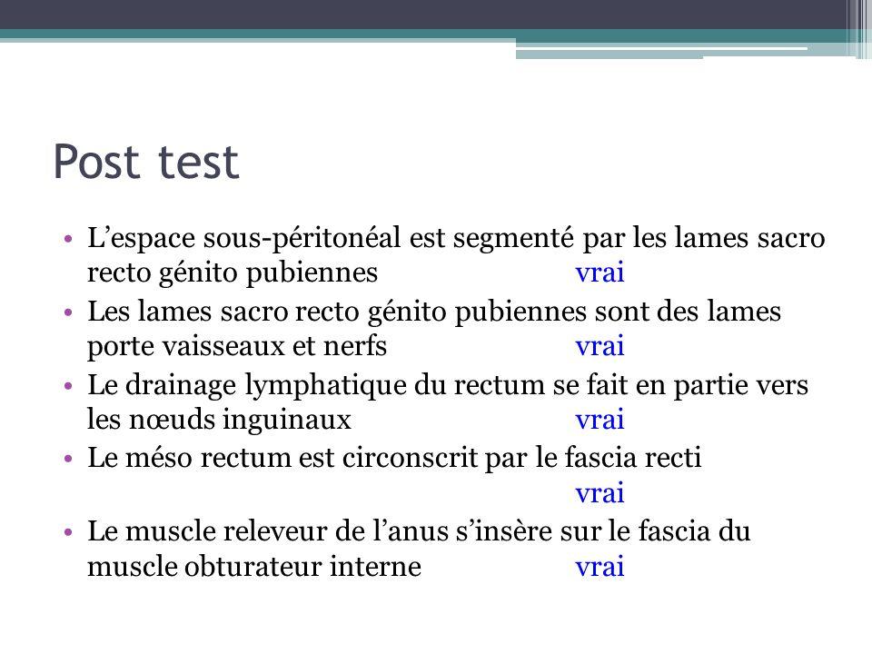 Post test L'espace sous-péritonéal est segmenté par les lames sacro recto génito pubiennes vrai.