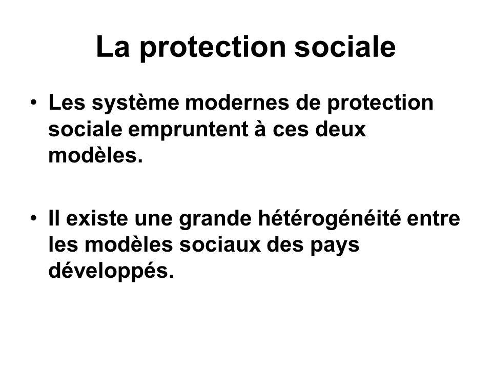La protection socialeLes système modernes de protection sociale empruntent à ces deux modèles.