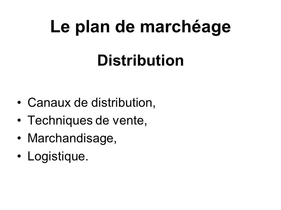 Le plan de marchéage Distribution Canaux de distribution,