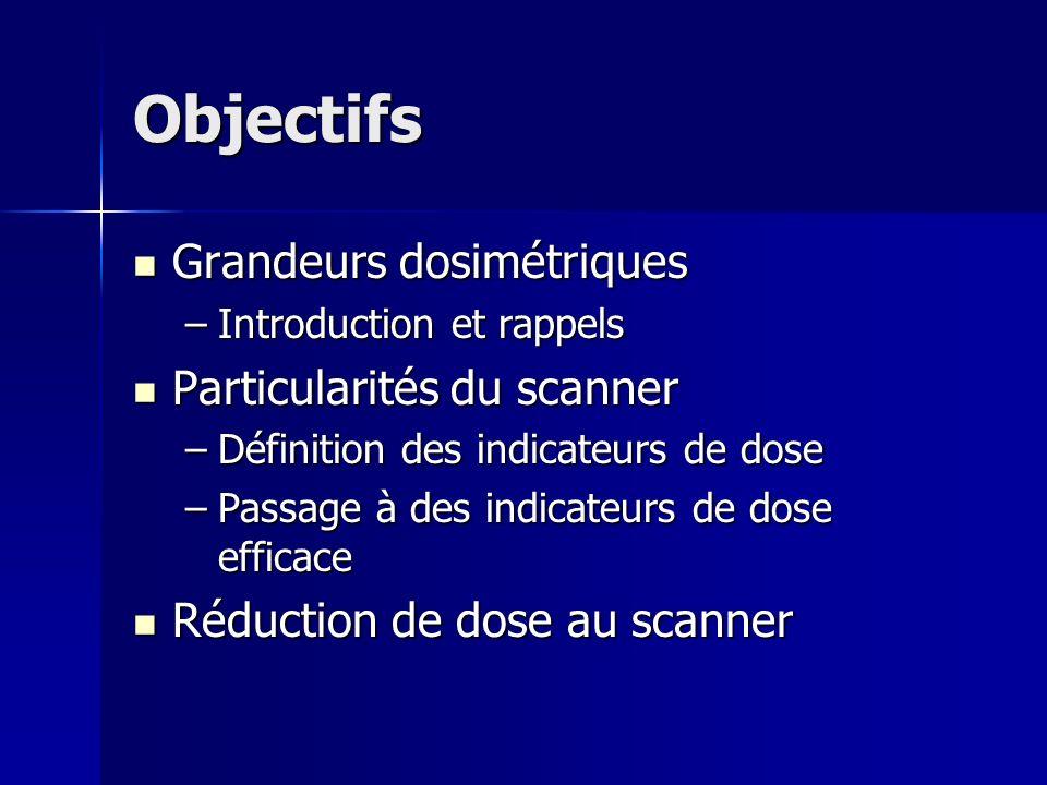 Objectifs Grandeurs dosimétriques Particularités du scanner