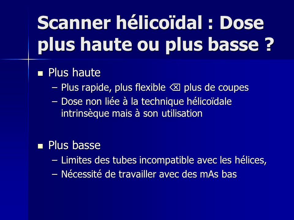 Scanner hélicoïdal : Dose plus haute ou plus basse