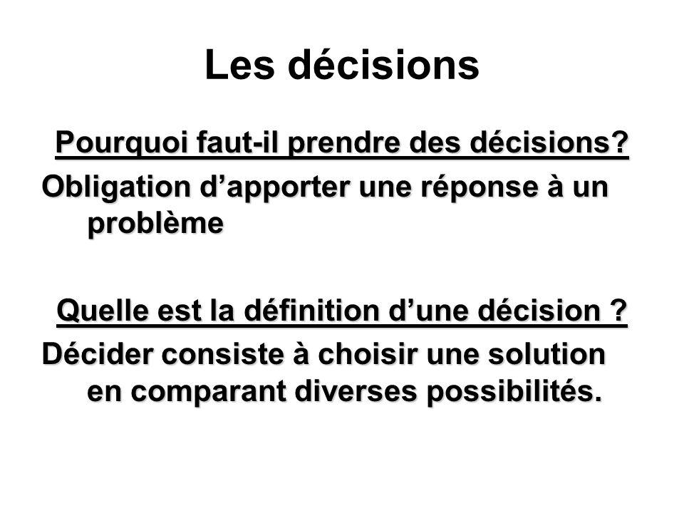 Les décisions Pourquoi faut-il prendre des décisions