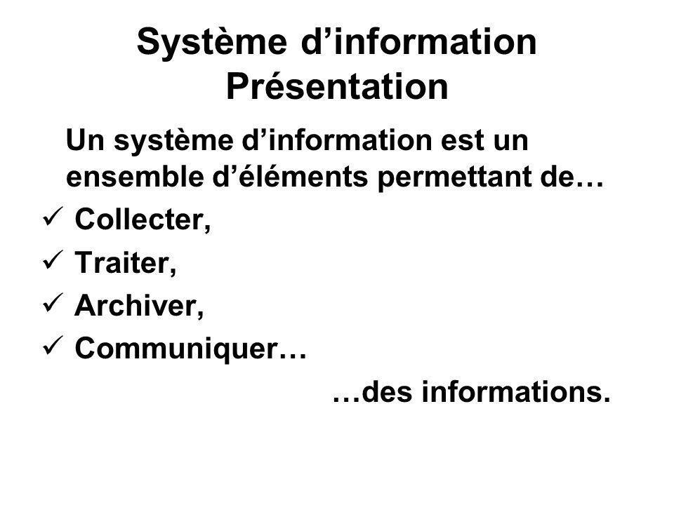 Système d'information Présentation