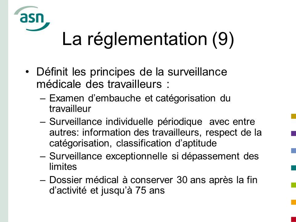 La réglementation (9) Définit les principes de la surveillance médicale des travailleurs : Examen d'embauche et catégorisation du travailleur.