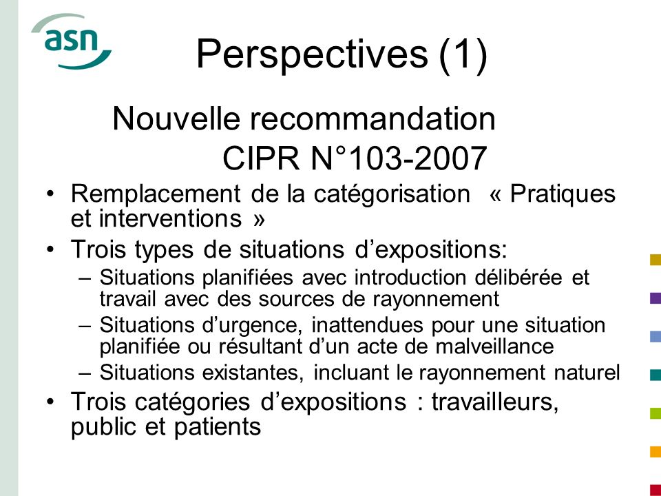 Perspectives (1) Nouvelle recommandation CIPR N°103-2007