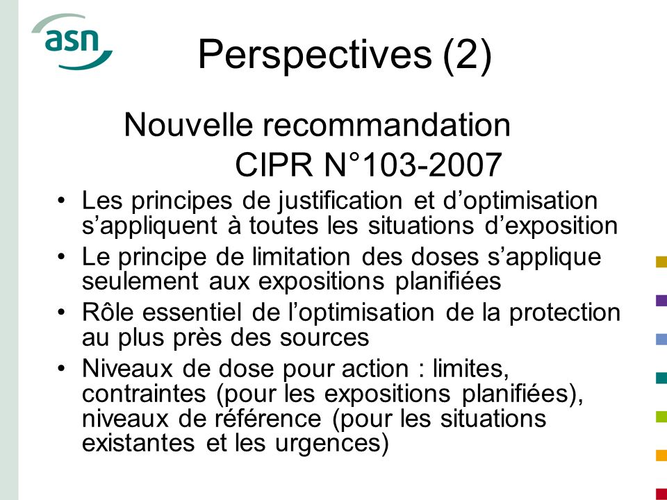 Perspectives (2) Nouvelle recommandation CIPR N°103-2007