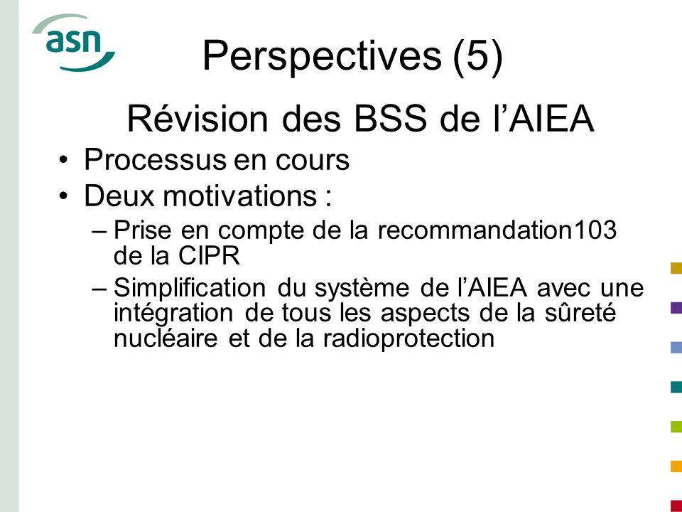 Perspectives (5) Révision des BSS de l'AIEA Processus en cours