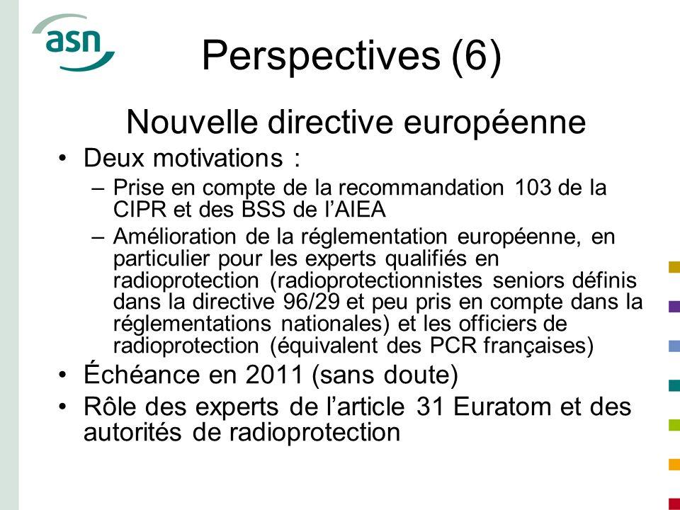 Perspectives (6) Nouvelle directive européenne Deux motivations :