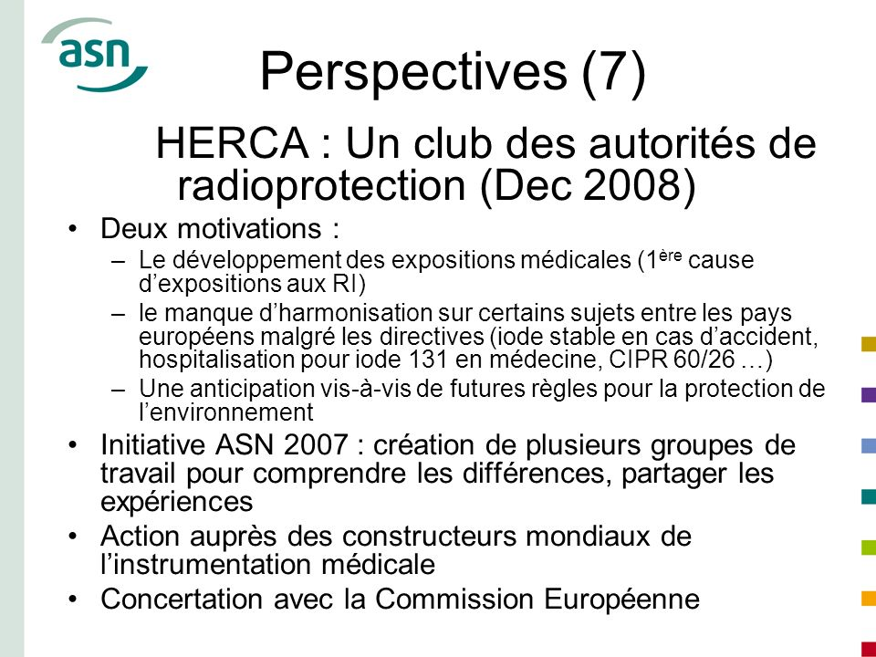 Perspectives (7)HERCA : Un club des autorités de radioprotection (Dec 2008) Deux motivations :
