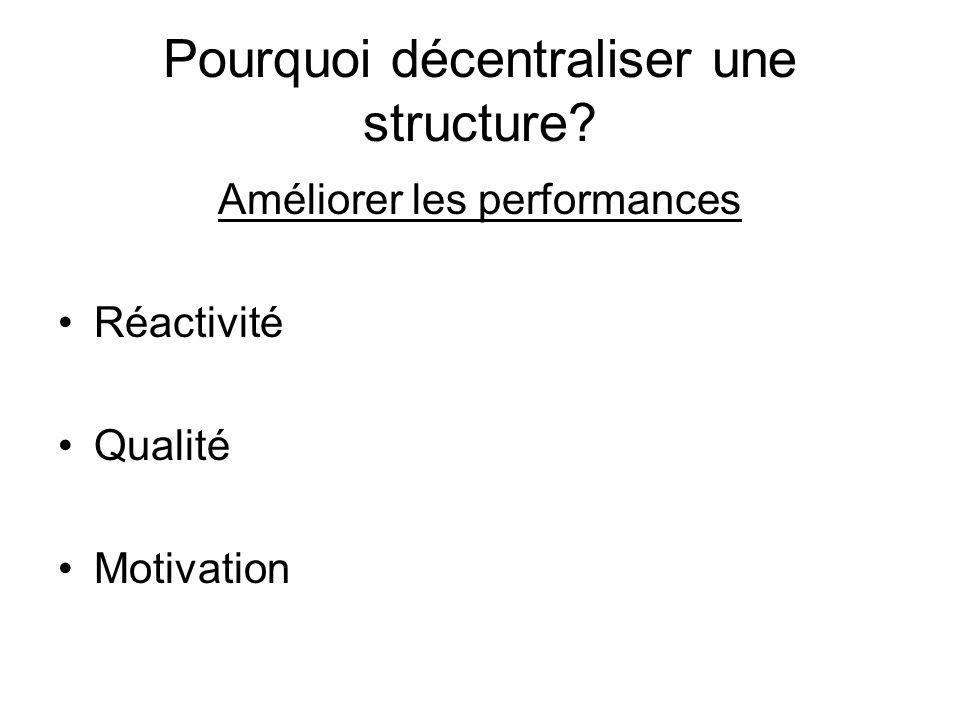 Pourquoi décentraliser une structure