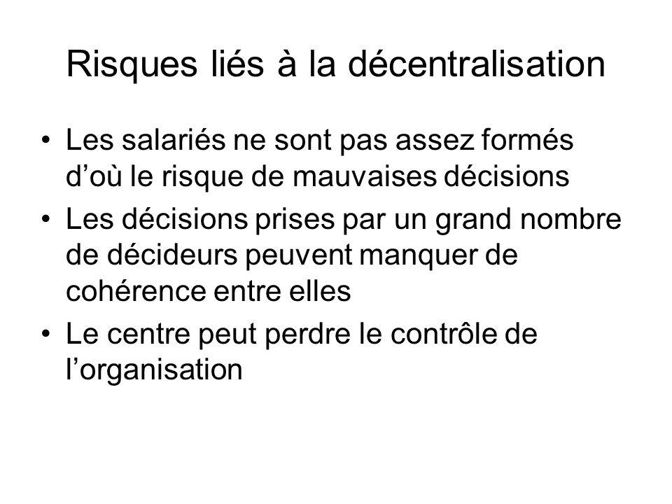 Risques liés à la décentralisation