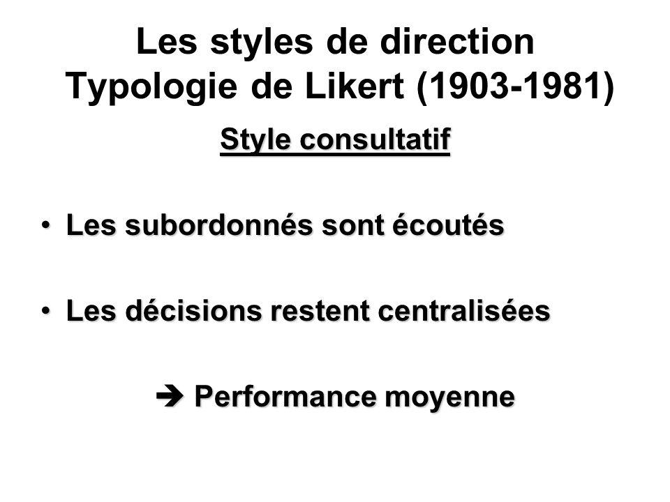 Les styles de direction Typologie de Likert (1903-1981)