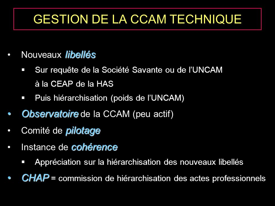 GESTION DE LA CCAM TECHNIQUE