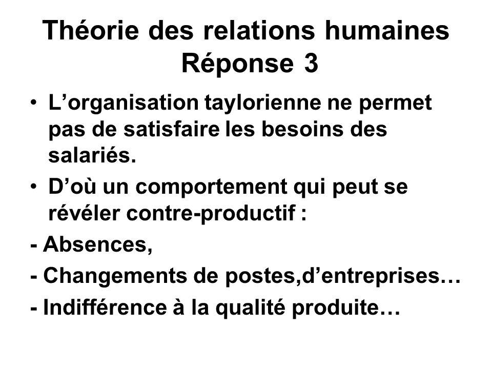 Théorie des relations humaines Réponse 3