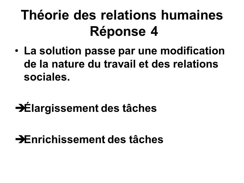 Théorie des relations humaines Réponse 4