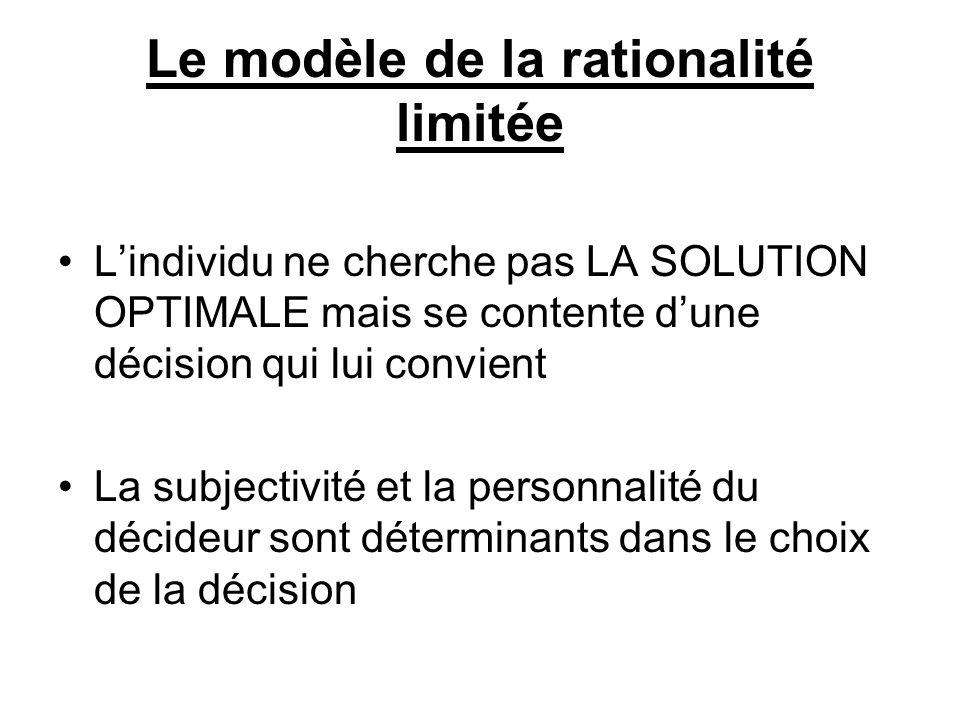 Le modèle de la rationalité limitée
