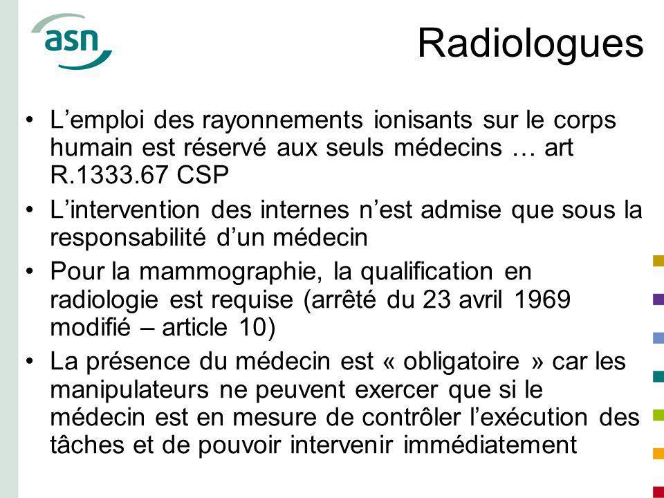 Radiologues L'emploi des rayonnements ionisants sur le corps humain est réservé aux seuls médecins … art R.1333.67 CSP.