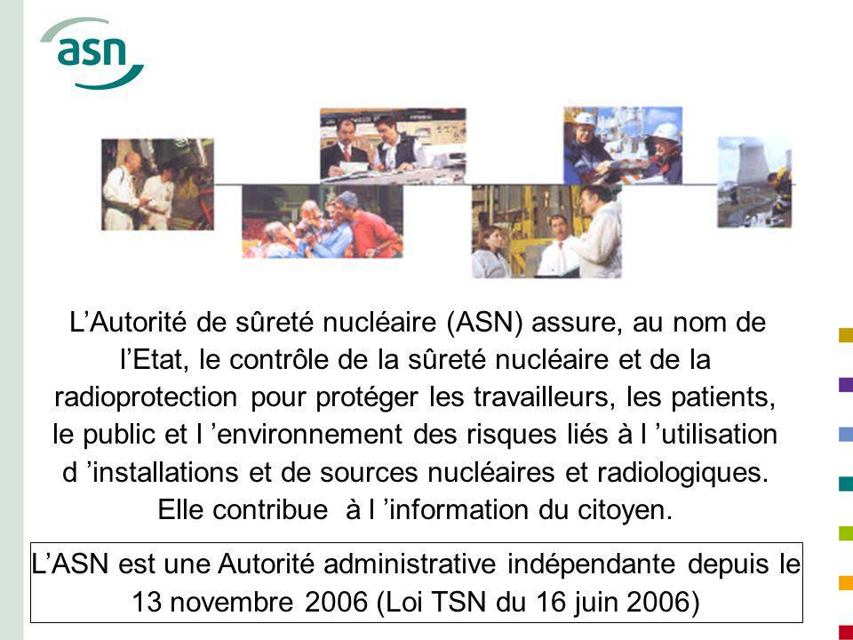 L'Autorité de sûreté nucléaire (ASN) assure, au nom de l'Etat, le contrôle de la sûreté nucléaire et de la radioprotection pour protéger les travailleurs, les patients, le public et l 'environnement des risques liés à l 'utilisation d 'installations et de sources nucléaires et radiologiques. Elle contribue à l 'information du citoyen.
