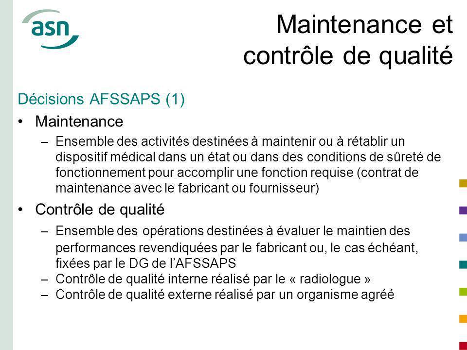 Maintenance et contrôle de qualité
