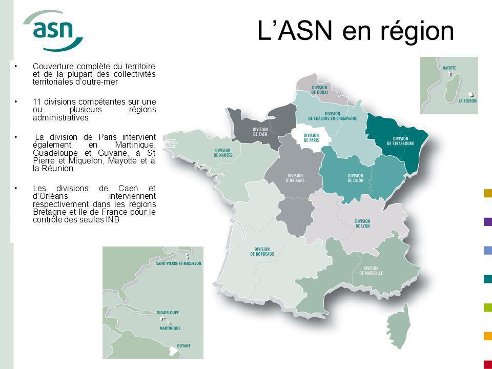 L'ASN en région Couverture complète du territoire et de la plupart des collectivités territoriales d'outre-mer.