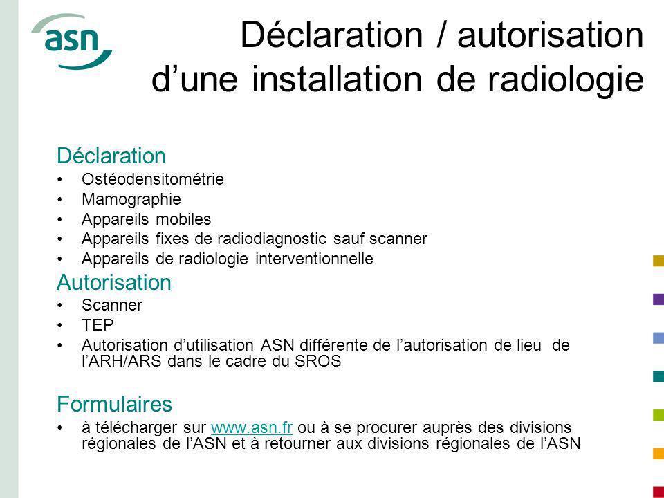 Déclaration / autorisation d'une installation de radiologie
