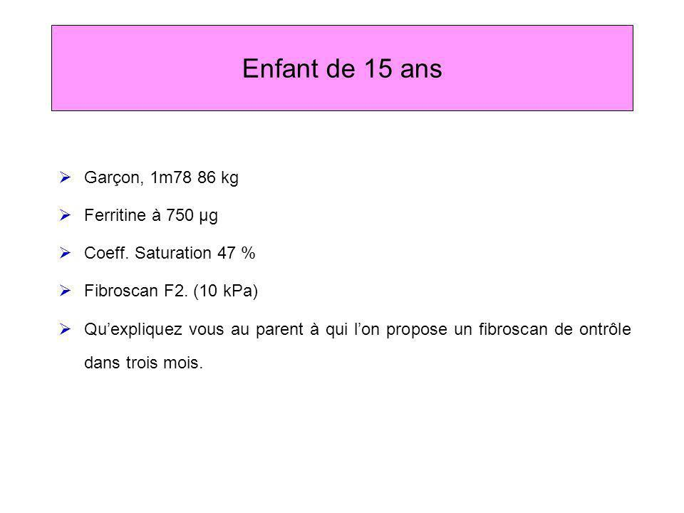 Enfant de 15 ans Garçon, 1m78 86 kg Ferritine à 750 µg