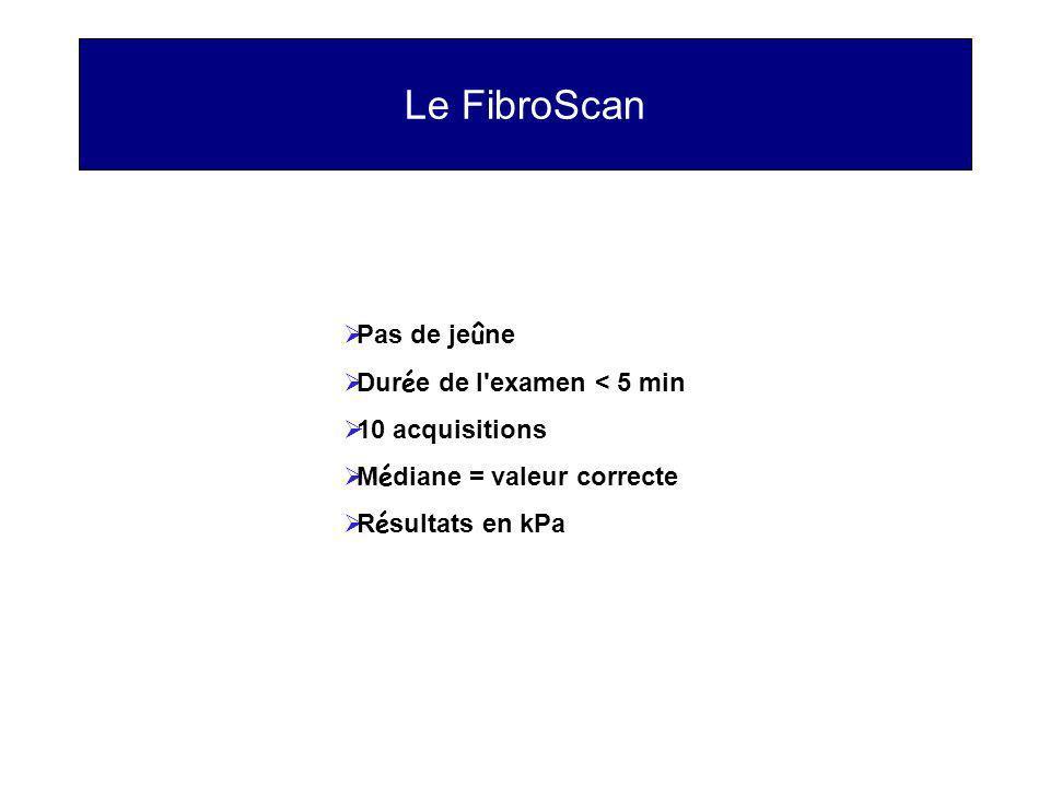 Le FibroScan Pas de jeûne Durée de l examen < 5 min 10 acquisitions