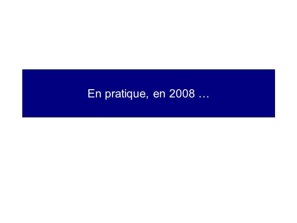 En pratique, en 2008 …