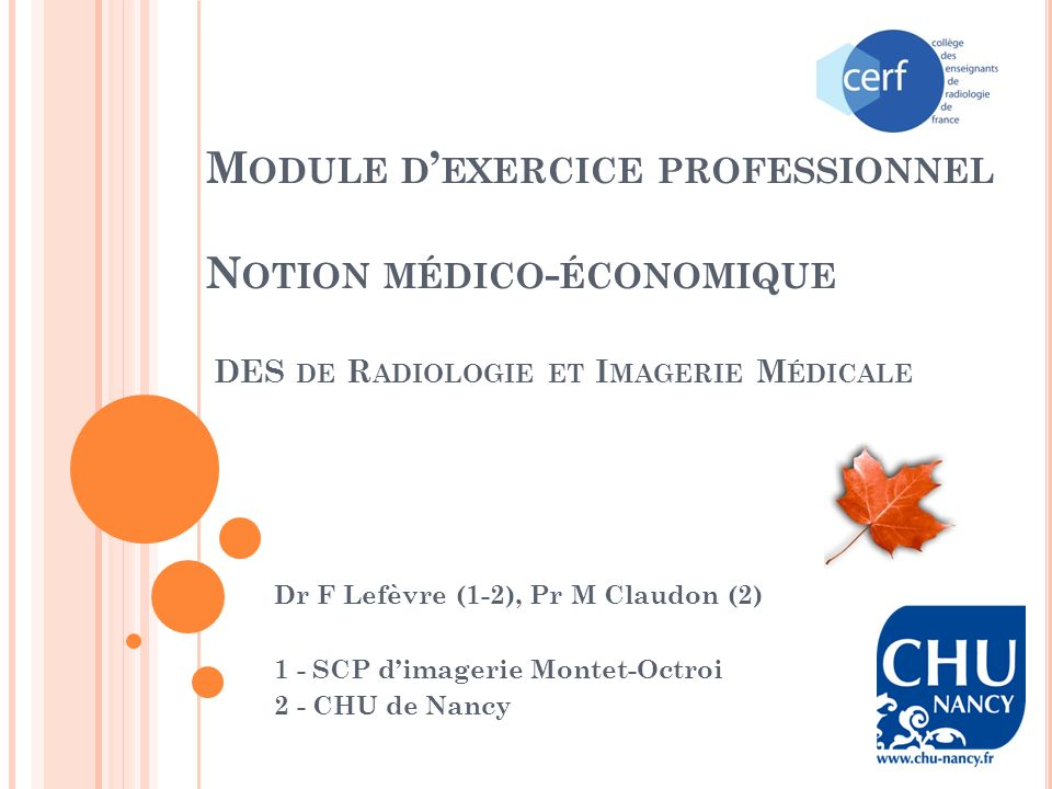 Module d'exercice professionnel Notion médico-économique DES de Radiologie et Imagerie Médicale