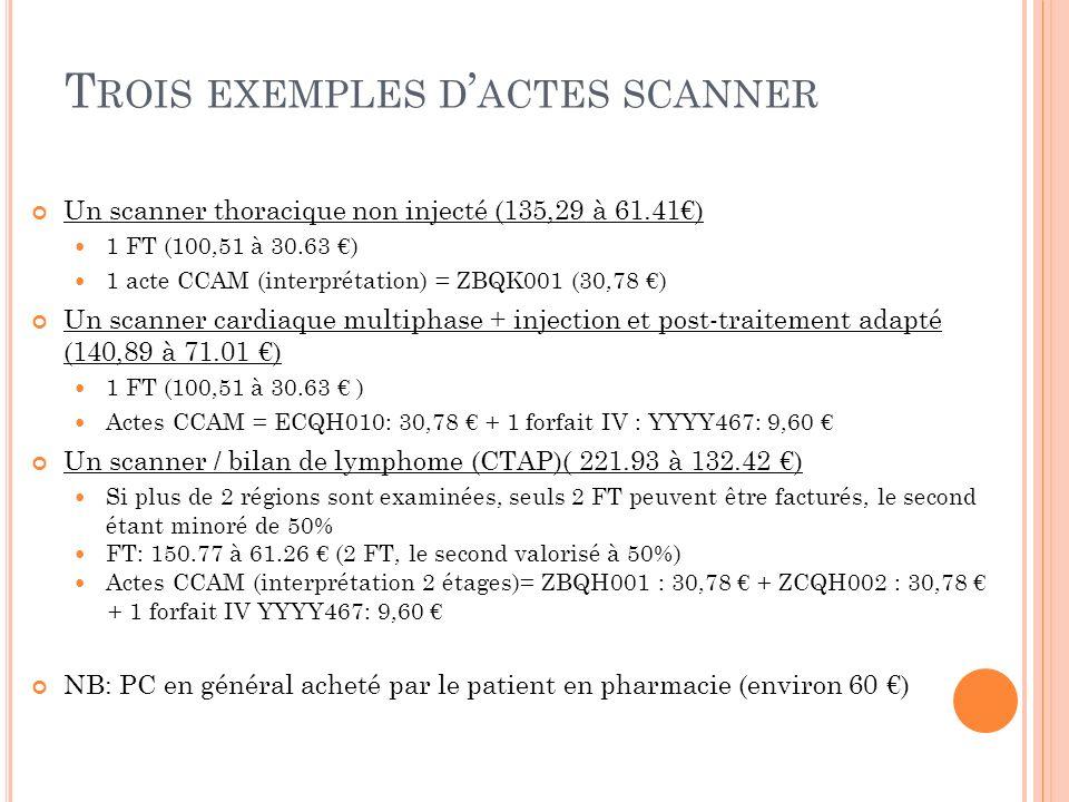 Trois exemples d'actes scanner