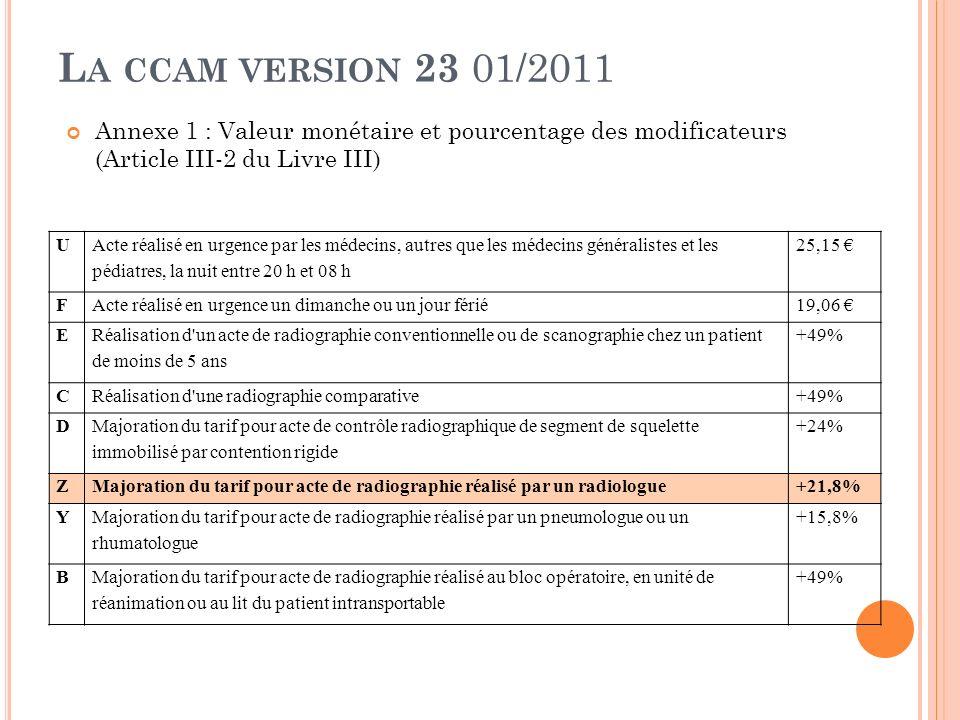 La ccam version 23 01/2011 Annexe 1 : Valeur monétaire et pourcentage des modificateurs (Article III-2 du Livre III)