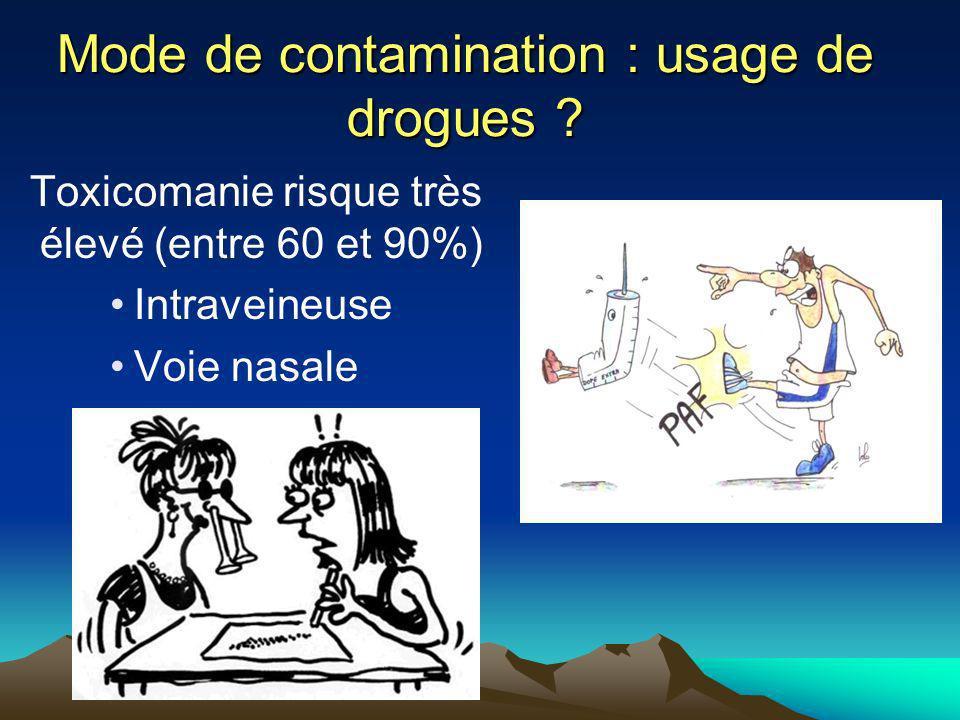 Mode de contamination : usage de drogues
