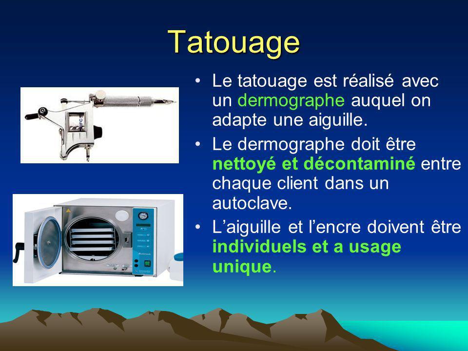 Tatouage Le tatouage est réalisé avec un dermographe auquel on adapte une aiguille.