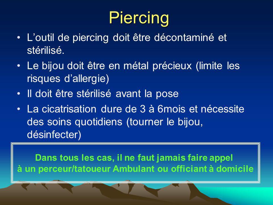 Piercing L'outil de piercing doit être décontaminé et stérilisé.