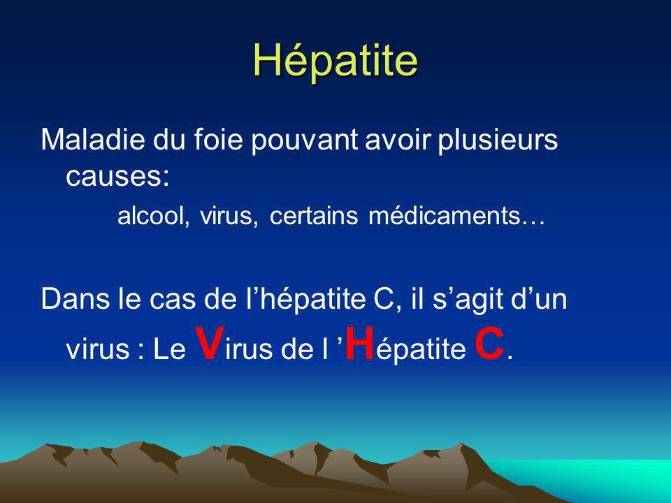 Hépatite Maladie du foie pouvant avoir plusieurs causes: