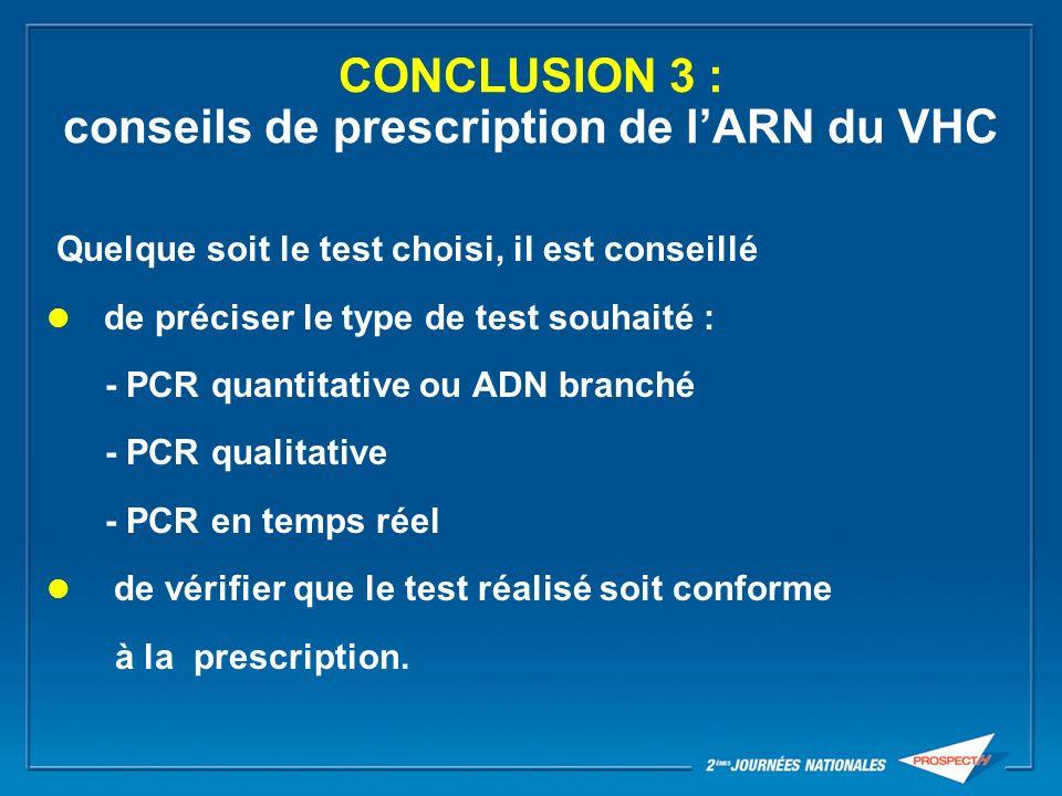 CONCLUSION 3 : conseils de prescription de l'ARN du VHC