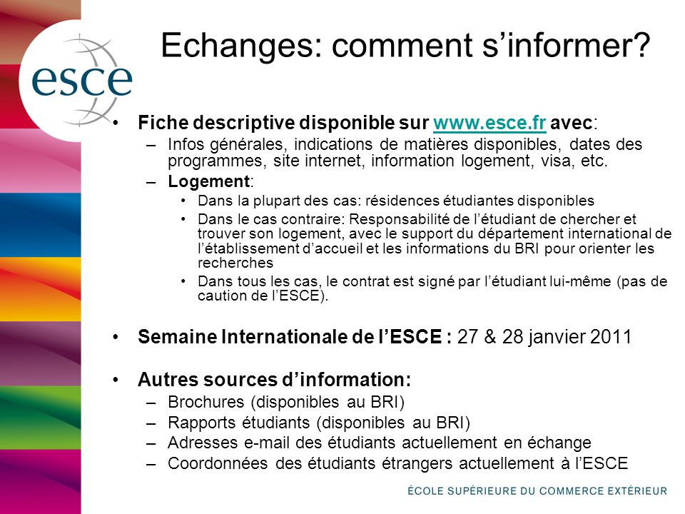 Echanges: comment s'informer