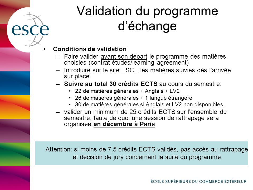 Validation du programme d'échange